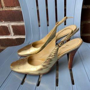 Gold Nina sling back heels pumps